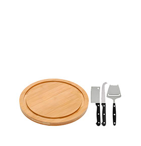 Tábua de Queijo de Bambu c/ Conjunto de Facas | 4 Peças