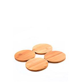 Conjunto de Bases para Copos de Bambu | 4 Peças