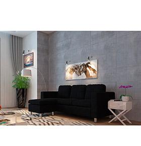 Sofá com Chaise-Longue Hilton | Preto