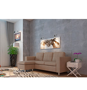 Sofá com Chaise-Longue Hilton | Bege