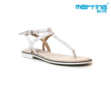 Sandálias Rasas Martina Blue® | Prata