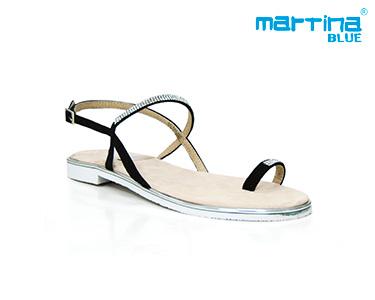 Sandálias Rasas Martina Blue® | Preto e Brilhantes