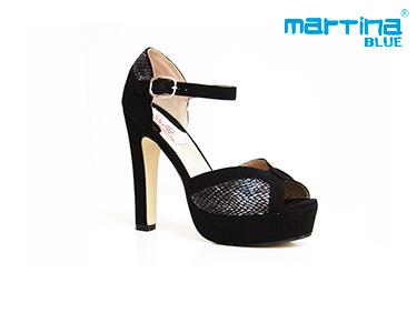Sandálias de Salto Alto Martina Blue® | Preto e Cobra