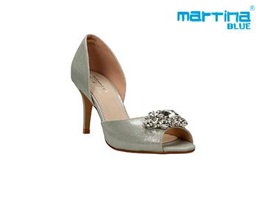 Sandálias de Salto Agulha c/ Pedras Martina Blue® | Prata