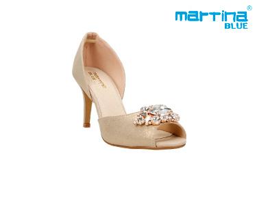 Sandálias de Salto Agulha c/ Pedras Martina Blue® | Ouro