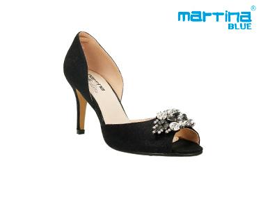 Sandálias de Salto Agulha c/ Pedras Martina Blue® | Preto