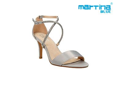 Sandálias de Salto c/ Pedras Martina Blue® | Prata