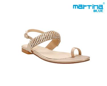 Sandálias Rasas c/ Brilhantes Martina Blue®   Ouro