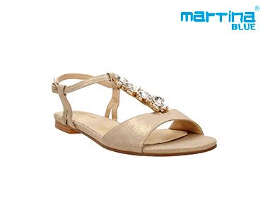 Sandálias Rasas c/ Pedras Martina Blue® | Dourado