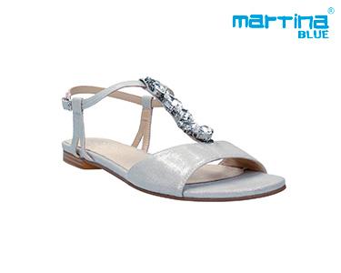 Sandálias Rasas c/ Pedras Martina Blue® | Prata