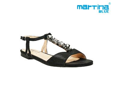 Sandálias Rasas c/ Pedras Martina Blue®   Preto