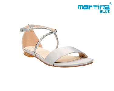 Sandálias Rasas c/ Brilhantes Martina Blue® | Prata