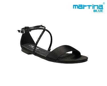 Sandálias Rasas c/ Brilhantes Martina Blue® | Preto