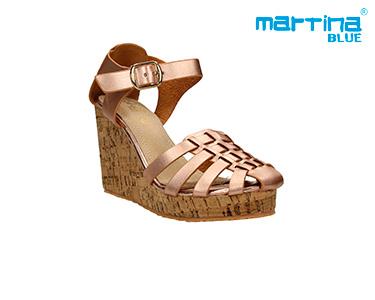Sandálias Cunha e Cortiça Martina Blue® | Ouro Rosa