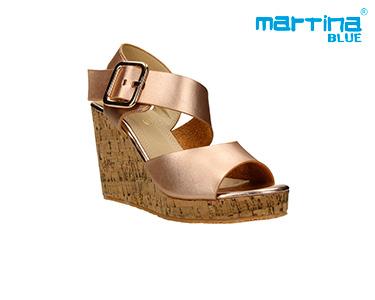 Sandálias Cunha e Cortiça e Metal Martina Blue® | Ouro Rosa