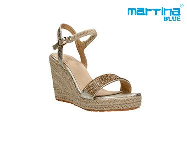Sandálias Cunha Alta e Corda Martina Blue®   Dourado