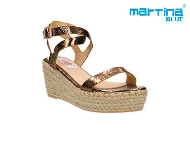 Sandálias Cunha e Corda Martina Blue® | Bronze