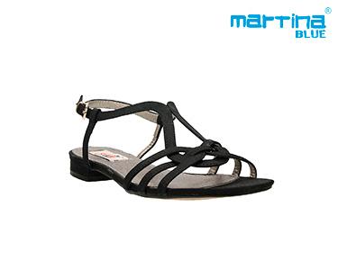 Sandálias Rasas c/ Tiras Martina Blue® | Preto
