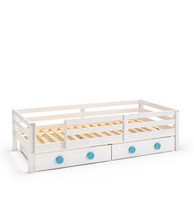 Cama + 2 Gavetas + Barreira para Colchão 90 x 200 cm | Branco e Azul