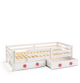 Cama + 2 Gavetas + Barreira para Colchão 90 x 200 cm   Branco e Vermelho
