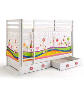 Beliche com 2 Estrados + 2 Gavetas + Cortina para Colchão 90 x 200 cm | Candy
