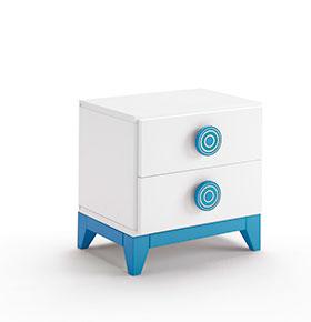 Mesa de Cabeceira com 2 Gavetas | Branco e Azul