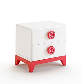 Mesa de Cabeceira com 2 Gavetas | Branco e Vermelho