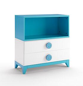 Mesa de Cabeceira + Prateleira com 2 Gavetas | Branco e Azul
