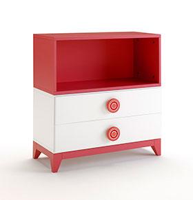 Mesa de Cabeceira + Prateleira com 2 Gavetas | Branco e Vermelho
