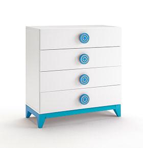 Cómoda com 4 Gavetas | Branco e Azul