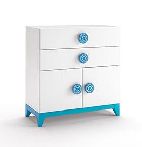 Cómoda com 2 Gavetas + 2 Portas | Branco e Azul