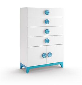 Cómoda com 4 Gavetas e 2 Portas | Branco e Azul