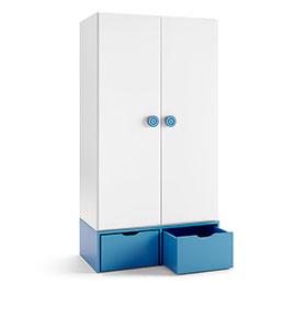Armário com 2 Gavetas e 2 Portas | Branco e Azul