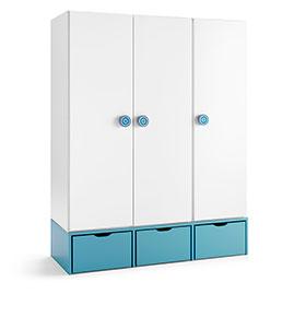 Armário com 3 Gavetas e 3 Portas | Branco e Azul