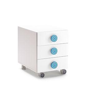Mesa de Cabeceira com 3 Gavetas e Rodas | Branco e Azul