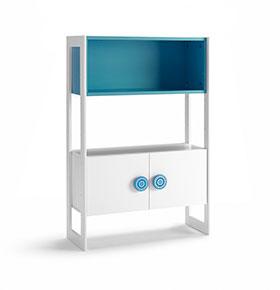Cómoda com 2 Portas e 1 Prateleira | Branco e Azul