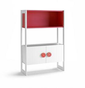 Cómoda com 2 Portas e 1 Prateleira | Branco e Vermelho