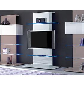 Móvel TV Primo com 2 Pratelerias em Vidro | Branco