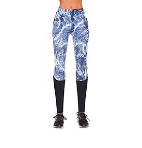 Legging Bas Black® Trixi | Preto e Azul com Padrão