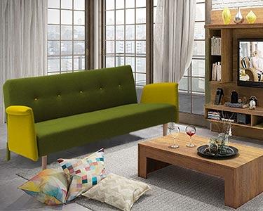 Sofá Cama Tecido Artemis | Verde e Amarelo