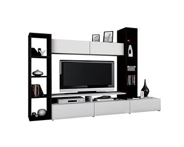Estante c/ móvel TV   Preto e Branco