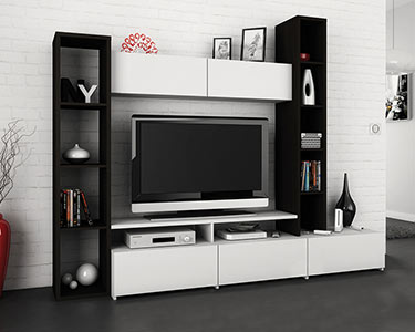 Estante c/ móvel TV | Preto e Branco