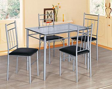 Mesa c/ Tampo de Vidro + 4 Cadeiras c/ Assento em Polipele Preto