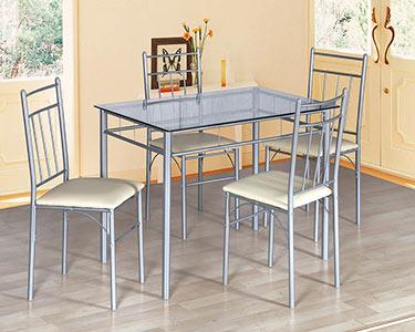 Mesa c/ Tampo de Vidro + 4 Cadeiras c/ Assento em Polipele Creme