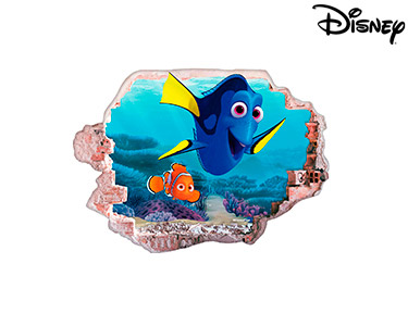 Vinil de Parede 3D Disney | Dóris e Nemo c/ Algas