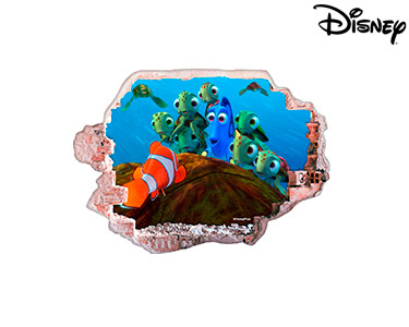 Vinil de Parede 3D Disney | Nemo e Amigas Tartarugas