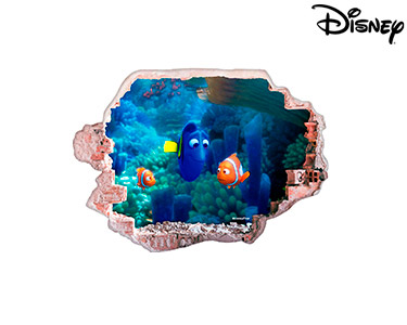 Vinil de Parede 3D Disney | Nemo, Dóris e Marlin
