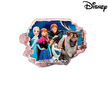 Vinil de Parede 3D Disney | Elsa, Ana e Amigos
