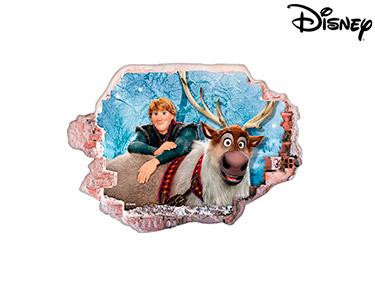 Vinil de Parede 3D Disney | Frozen Kristoff e Sven
