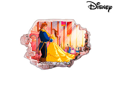 Vinil de Parede 3D Disney | A Bela e o Monstro, Dança!